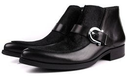 Wholesale Mens Wedding Boots - HOT sale Large size EUR45 Buckle black Mens ankle Boots cool mens shoes genuine leather mens dress shoes wedding shoes