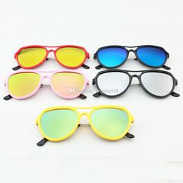 Wholesale Anti Ultraviolet - Fashion Stylish children Boys Girls Sunglass Full Frame glasses Colorful mercury tablets Baby Anti-ultraviolet sunglasses 41 colors C1917