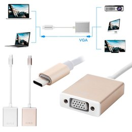 Wholesale Hdmi Type Vga - High Quality Type C USB 3.1 Male to HDMI VGA Female Adapter Cable for Macbook 12'' Notebook