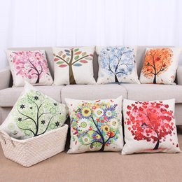 Wholesale Heart Textile - Doodles Tree of Life Pillow Case Heart Tree Flower Print Square Cushion Pillow Cover Pillowcases Cushions Home Textiles DHL 240279