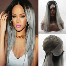 Wholesale Celebrity Heat - Synthetic Straight Hair Ombre 1b# Medium Grey Short Celebrity Hairstyles Base Material Swiss Lace Heat Resistent sinteticas