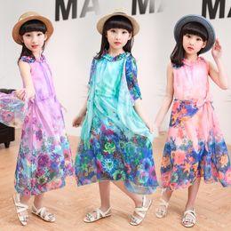 Wholesale Dresses Bohemia Style Chiffon - New baby girls Bohemia Beach dress summer Chiffon Children Flowers printing dress Kids Clothing 6 colors C2260