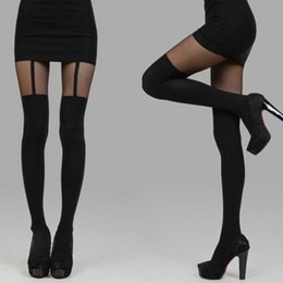 Wholesale Socks Temptation - Wholesale- Black Sexy Fashion Women Temptation Mock Suspender Tights Pantyhose Stockings