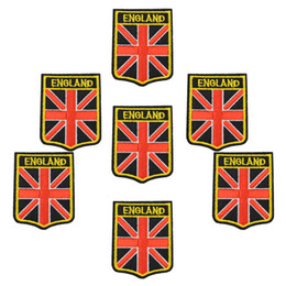 Wholesale Flag Clothes - England Badges flags DIY patches for clothing iron embroidered patch applique iron on patches sewing accessories for clothes bag DZ-277