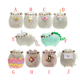 """Wholesale Eggshell Animal - New arrival 9"""" 23cm Pusheen With Heart logo Letter & with Eggshell Potato Chips Sushi Cat Plush Stuffed Animals Toys"""