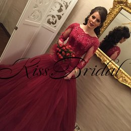 Wholesale Big Girls Evening Dresses - Vintage Big Ball Gown Lace Prom Dresses Long Sleeves Dark Red Crew Neck Lace Meramid Formal Girls Evening Pageant Gowns
