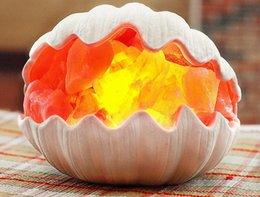 Wholesale Craft Sea Shell - NEW Sea Shell Crafted Himalayan Natural Crystal Salt Lamp with Bulb and Dimmer Control Air Purification Therapy Night Light Salt Table Lamp