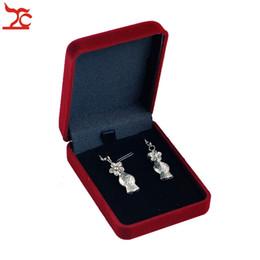 Wholesale Wholesale Black Earring Gift Box - Fashion 12Pcs Velvet Jewelry Package Box 7.7*5.7*2.8CM Square Black Insert Stud Earrings Storage Gift Box Necklace Box 2 Color Availble