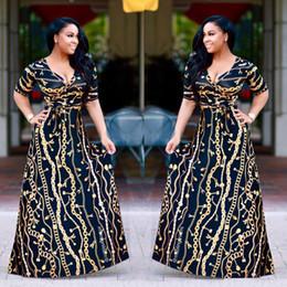 Wholesale maxi dresses silk chiffon - 2017 Plus Size African Fashion Designed Traditional Maxi Dress Autumn Women Vintage Chain Print Long Dress Sexy Elegant Party Dresses