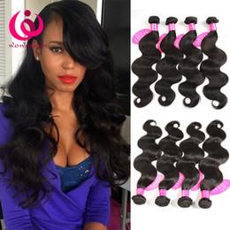 Wholesale Human Hair Weave Bulk - Brazilian Human Hair 4 Bundles Brazilian Body Wave Hair Weaves Grade 8A Peruvian Indian Malaysian Virgin Hair Extensions Bulk