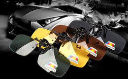 Wholesale clip glasses night - New Hot Fashion Clip-on Flip-up Lens Polarized Day Night Vision Sunglasses Driving Glasses S,M,L 1168