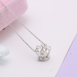 Wholesale Necklace Real Stone - 2017 hot sale real 925 Sterling silver jewelry crown with cz stone setting pearl cage pendant