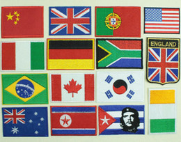 Wholesale Different Shirt - Countries Flag Patches Shirt Jerseys T-Shirt Decoration Different Style Fabric with Glue Ironing Fastness Fast Shippingc
