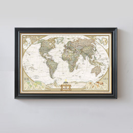 Wholesale Wall Map Mural - Rushed Sticker Classic World Map English For Retro Kraft Paper Poster Decorative Painting Core 72.5x47.5 CM Vintage Wall Sticker