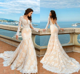 Wholesale Tulle Draping Wedding - 2017 Champagne Mermaid Lace Wedding Dresses Long Sleeves Beach Boho Elegant Backless Fitted Sweetheart Bridal Gowns with Sweep Train