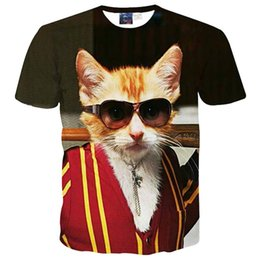Wholesale B16 Sleeves - 3D T shirts Summer tops for men boy 3d t-shirt funny print glasses cat casual street wear hip hop tshirt tees Asia M-XXL B16
