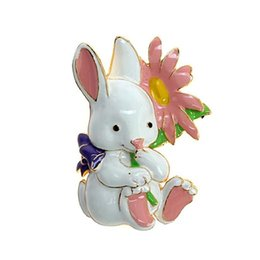 Wholesale Bunny Brooch Pin - Cute Retro Easter White Bunny Women Children Enameled Metal Brooch