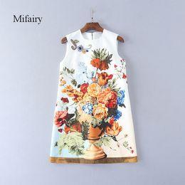 Wholesale Printed Peony Sheath Dress - Runway Dress 2017 White Peony Print Celebrity Style Dress Colorful Crystals Beads Jacquard Cotton Mini A Line Dress D061750