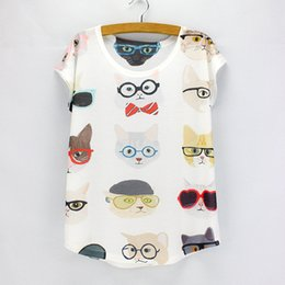Wholesale Girls Tee Shirt Dress Wholesale - Wholesale- Cool Cats printed female top tees women fashion style t shirts girls printing summer dresses wholesale drop shipping