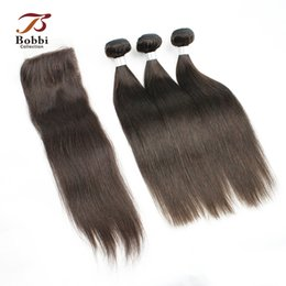 Wholesale Remy Raw Hair - Raw Indian Remy Human Hair 3 Bundles with Lace Closure Darkest Brown Straight Virgin Hair Weaves Color 2 Free Middle Three Part Closure