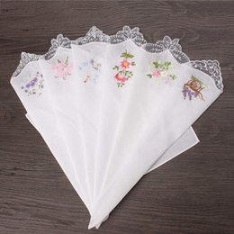 Wholesale Lace Hankies - 6PCS Vintage Cotton Women Napkin Embroidered Butterfly Lace Flower Hankies Floral Assorted Cloth Portable Ladies Handkerchief