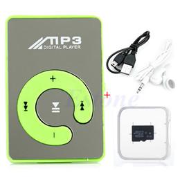 Wholesale Mini Clip Mp3 4gb - Wholesale- HOT SALE Mini Mirror USB Digital Clip Mp3 Music Player+Micro SD TF Card 4GB +Earphone+USB Data Cable 8 Color Choice