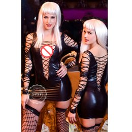 Wholesale Wet Long Dress - Black Leather Sexy Dress for Women Intimate Bandage PVC Erotic Costumes Latex Catsuit Wet Look Sexy Lingerie Long Sleeved Dress