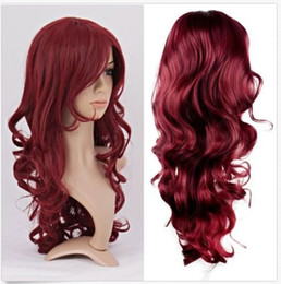 Wholesale Curly Red Full Lace Wig - 100% New High Quality Fashion Picture full lace wigs Women Lady Long Wavy Curly Hair Anime Cosplay Party Full Wig Wigs Wine Red Wigs