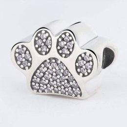 Wholesale paw print beads - Authentic 925 Sterling Silver Dog Paw Print Silver Charm With Clear Cubic Zirconia Fit Original Bracelets Diy Jewelry Making