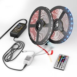 Wholesale 12v Light Strips - 32.8ft (10M) 300 LEDs SMD 5050 RGB LED Strip Kit Light with 44 Key Remote Controller 12V 5A Power Supply for Christmas Party Home Decoration