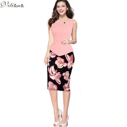 Wholesale Cheap Spandex Bodycon - VITIANA 2017 Summer Womens Cheap Vintage Elegant Clothing Print Floral Patchwork Button Casual Work office Party Bodycon Dress