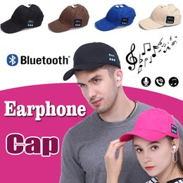 Wholesale Music Baseball - Bluetooth Headphone Sports Baseball Cap Unisex Canvas Casual Sun Hat Outdoor Music Stereo Handsfree Headset With Mic Speaker for Smart Phone