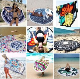 Wholesale indian shawls wholesale - Round Mandala Beach Towel Tassel Beach Towel Tapestry Boho Tablecloth Bohemian Beach Shawl Indian Wrap Polyester Picnic Mat CCA6339 30pcs
