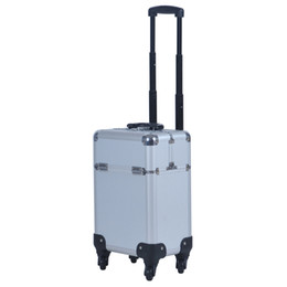 Wholesale Trolley Case Cosmetics - New Arrival Fashion Professional Rolling Makeup Case Multifunctional Trolley Travel Cosmetic Case With 360 Degree Wheel