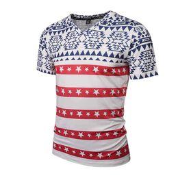 Wholesale Animal T Shirts Cheap - 2017 spring summer wear V-neck red stripe t-shirt 3d printed t-shirts designer cool high quality sweatshirt wholesale soft cheap tshirts