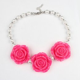 Wholesale Chunky Princess Necklace - 10pcs lot New Arrival Boutique resin Rose Flower Necklace Girls Princess Chunky Bubblegum Necklace For Dress Up