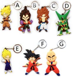 silicone pendants wholesale Coupons - 20pcs Anime Dragon Ball Z Monkey Keychain Son Goku Super Saiyan Silicone PVC Keychain action figure pendant Keyring Collection toy