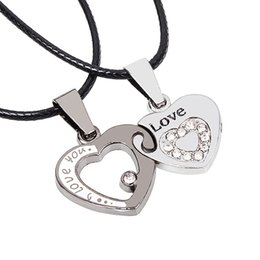 Wholesale Titanium Love Pendant Necklace Heart - Heart of the heart of titanium steel couple necklace men and women heart-shaped love pendant Europe and the United States fashion jewelry a