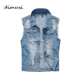 Wholesale Ripped Vest - Wholesale- DIMUSI Summer Denim Vest Men Vintage Sleeveless washed jeans Man waistcoat Cowboy ripped HIpHop Jacket Brand Clothing 6XL,YA606