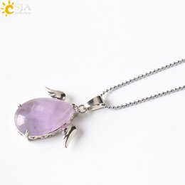 Wholesale Amethyst Wings - CSJA Girls Angel Wings Charms Real Natural Stone Jewelry Healing Amethyst Pink Crystal Opal Pendant Necklaces Valentine Christmas Gift E228
