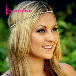 Wholesale Pearl Elastic Headband - Summer Bohemian Wedding Hair Jewelry Fashion Elastic Braided Rope and Created Pearl Chain Headbands Hair Accessories