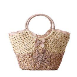 Wholesale Handmade Crochet Knit Flower - Beach Bag Big Straw Totes Bag Handmade Woven Women Travel Handbags Luxury Designer Crochet Flower Hand Bags 2017 New Summer C89