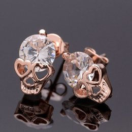 Wholesale gold skull studs - Free Shipping New Anti-allergic Stud Earrings Women Girl Rose Gold Plated CZ Zircon Skull Earrings Jewelry Gifts
