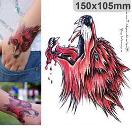 Wholesale Free Wolf Tattoos - Red Blood Wolf Head Wolf Temporary Tattoo Body Art Sleeve Arm Flash Tattoo Stickers 510*105mm for men free ship