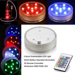 Wholesale Remote Control Led Light Base - 5050 SMD 10 LED Submersible Candle Lamp Remote Control Multicolor Under Vase Base Waterproof Light Wedding Birthday Party Decor