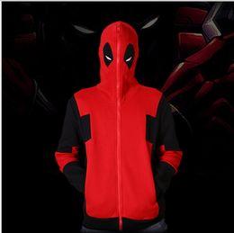 Wholesale Wading Jacket Xl - Deadpool Hoodie Marvel Comic Wade Wilson Hooded Sweatshirt Zipper Outerwear Jacket Winter 3d Hoodies Anime Characters Hoodies