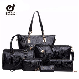 Wholesale Composite Stone - Wholesale-6 PCS Set Women Bag Crocodile Pattern Composite Bag Stone Women Messenger Bags Shoulder Handbag Purse Wallet PU Leather Handbags