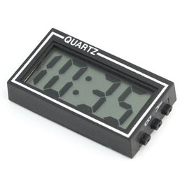 Wholesale Digital Clock Date Time - Wholesale-New Arrival High Quality Small Digital LCD Car Dashboard Desk Date Time Calendar Clock with Double-sided tape