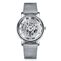 Wholesale Skeleton Watches For Mens - Mens Luxury Fashion Watches Hollow Out Quartz Silver Mesh Band Watches Skeleton aaa Mens Silver Watches free DHL for 50pcs up