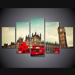 Wholesale Hd Bus - 5 Pcs Set Framed HD Printed London Red Bus Street Wall Art Picture Canvas Print Decor Poster Modern Canvas Oil Painting